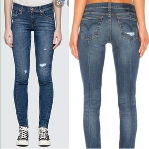 Levi's Altered Skinny 711 Distressed Ripped Jeans